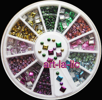 2 Styles 6 Color Metallic Rivets Plating Bright 3D Nail Art Decoration Studs #21