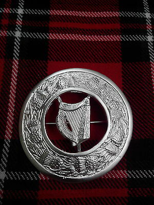 T C Uomo Kilt Fly Plaid Spilla Arpa Irlandese Silver Plated / Kilt Fly Plaid Spille, Spillette-mostra Il Titolo Originale Completa In Specifiche