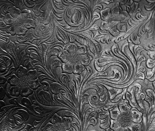 1//2 Yd Faux Leather Black Floral Embossed Cowboy Vinyl Western Tooled Upholstery