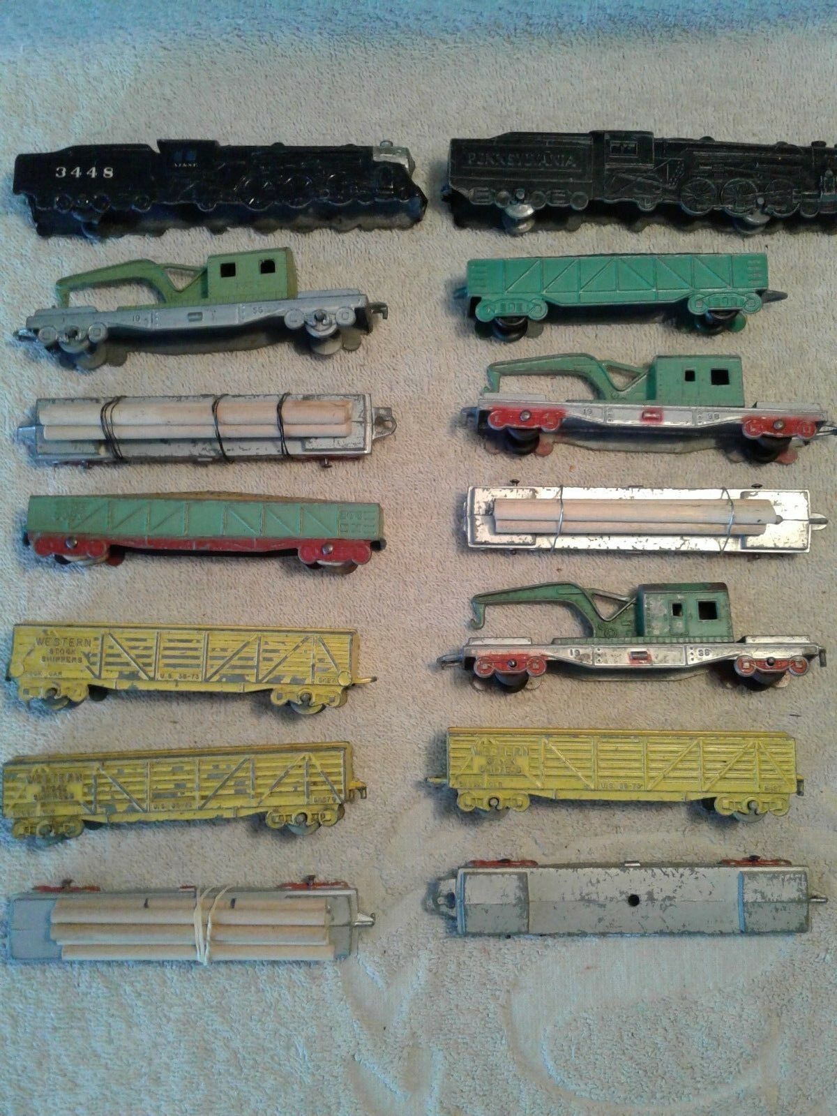 14 Piece 2 Sets  of Tootsietoy & Criterion Freight Trains, Crane Cars, Log Cars