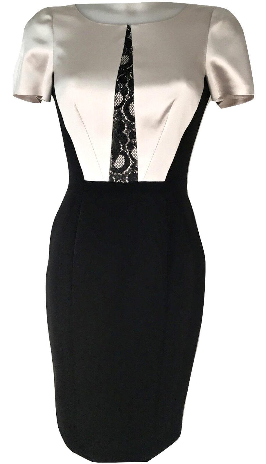 NEU KAREN MILLEN Streifen aus Spitze Kleid schwarz beige geschneiderte Stift