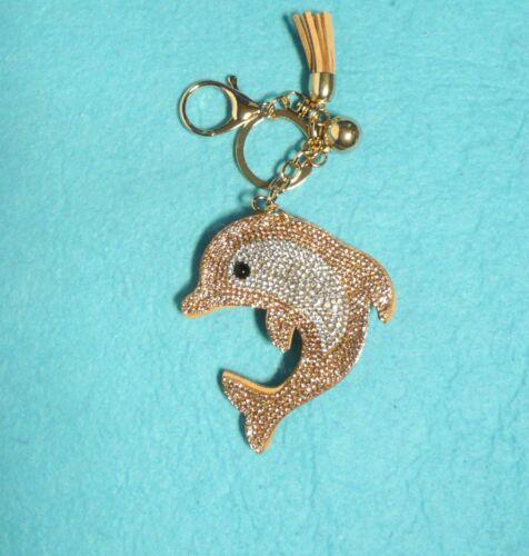 Rhinestone Crystals Dolphin Keychain Purse Bag Ring Charm Tassel /& Golden Ball!