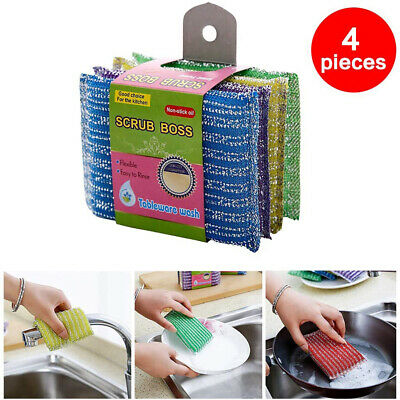 4pcs Metal Abrasive Sponges Kitchen Cleaning Sponge Brush Household Clean Tools
