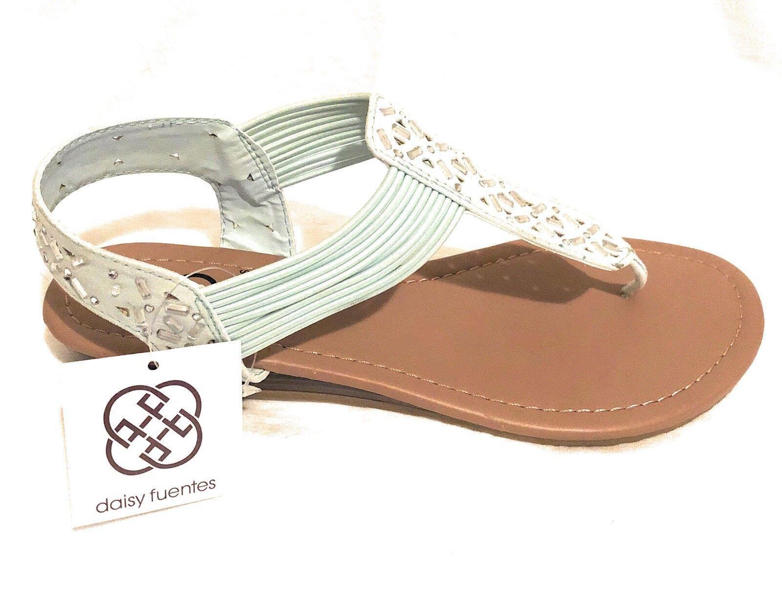 Daisy Vegan Fuentes Vegan Daisy Gracie Sandals Jeweled Thongs With Low Wedge Heel Size 8M US 707da8