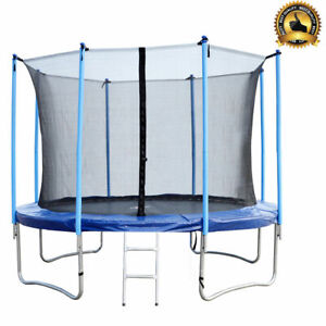 12-FT-Round-Trampoline-with-Enclosure-Net-W-Spring-Pad-Ladder