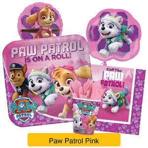 Paw Patrol Pink Girls Birthday Party Range Tableware Supplies
