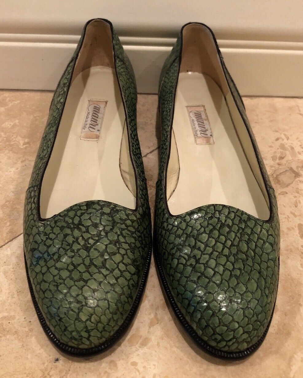 MAURI Italy Italy MAURI Genuine Exotic Crocodile Skin Loafer Green Black Leather Soles Sz 36 288402