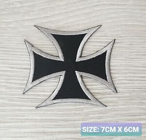 Iron Cross biker badge Embroidered Iron /Sew On Patch Badge