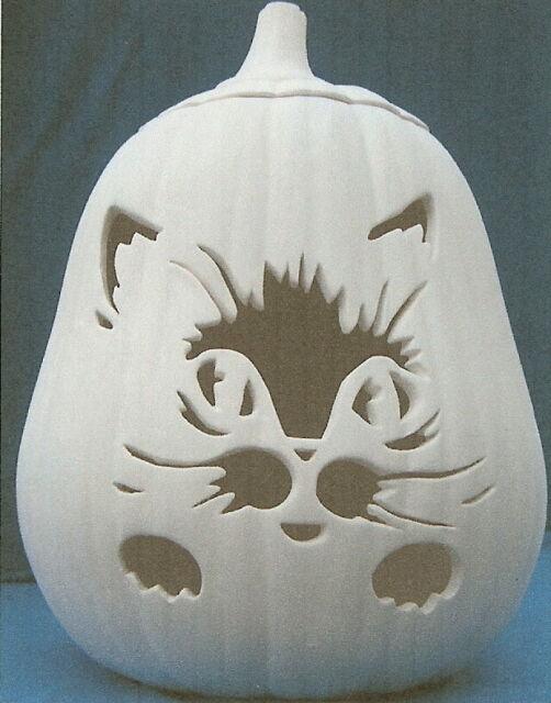 Paint Ceramic Bisque Ready to Paint Kitten with Pumpkin  Light Up Halloween
