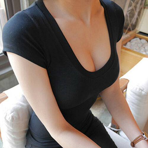 Womens Lady Slim Fit T-Shirt Tight Crop Top Short Sleeve Blouses Stretch N7