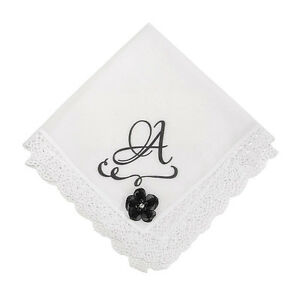 Class Act Printed Monogram Lace Trimmed Handkerchief with Flower