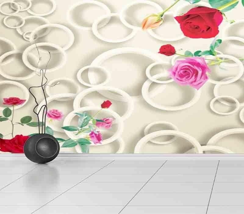 Delicate Pink Circle 3D Full Wall Mural Photo Wallpaper Printing Home Kids Decor