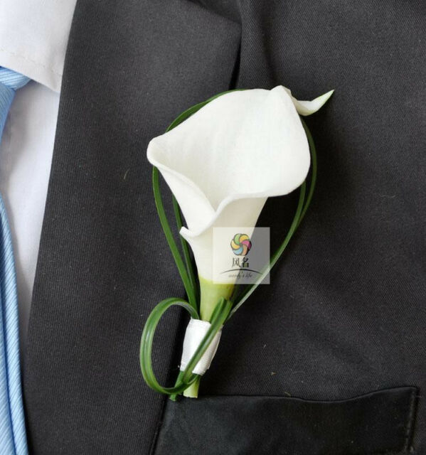 Wedding Flowers Men: Calla Corsage Flowers Rose Groom Suit Men Boutonniere