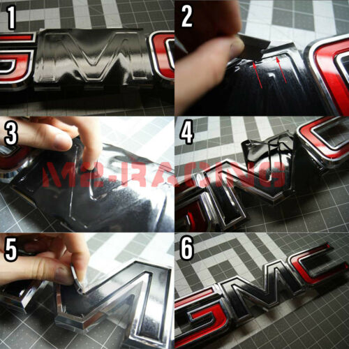 *Rainbow Neo Chrome GMC Emblem Overlay Vinyl Wrap Kit Sticker Decal Front /& Rear