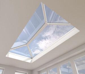 Roof-Lantern-Aluminium-Skylight-Glass-Flat-Rooflight-White-Grey-1000mm-x-1850mm
