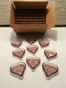 24 PC HOME INTERIORS Valentine PINK GLASS HEART DISH TRAY SET NEW Vintage 1980's