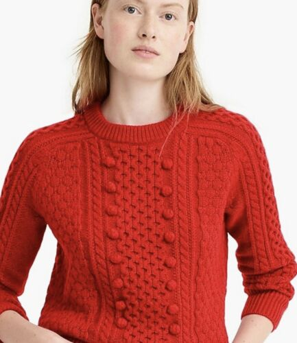Xxl128 JCrew Pom Lamswol Knit Cable Sweater Valentine Top Red Nieuw Chunky eHI29WEYD