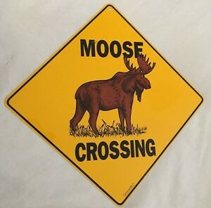 yellow black 12x12 moose crossing sign ebay