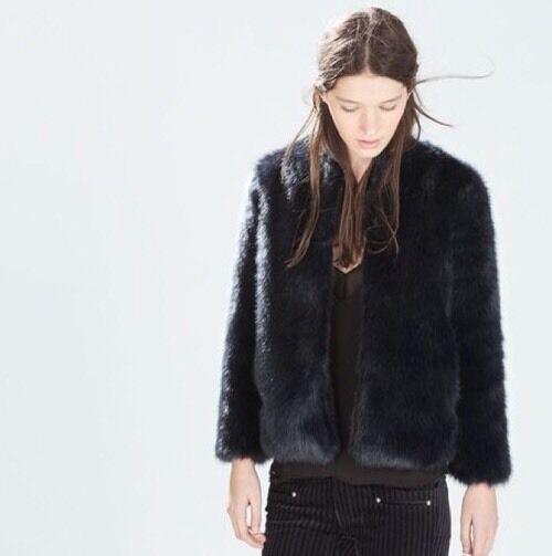 ZARA Faux Fur Coat Jacket Mantel Neu Mit Etikett Blogger Ausverkauft
