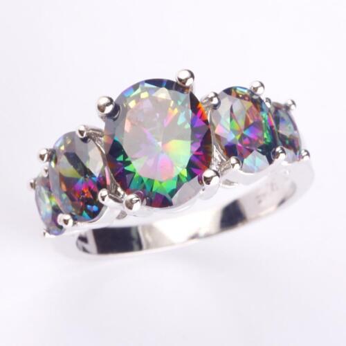Beautiful Rainbow Sapphire Gemstone Women Silver Ring New Jewelry Christmas Gift