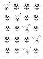 20 Nail Decals * EASTER BUNNY FACES* Water Slide Nail Art Decals Cute Designs