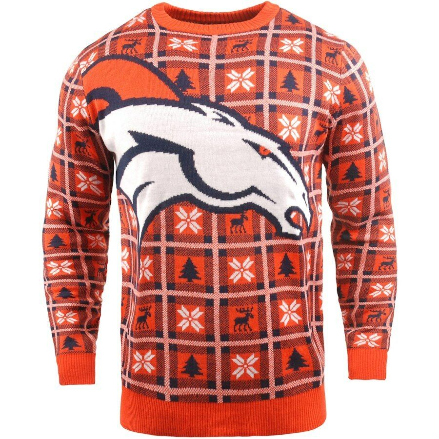 NFL Ugly SWEATER Denver Broncos Pullover Christmas BIG LOGO style football 18