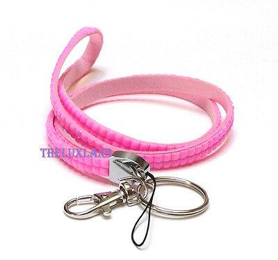 Bling Rhinestone, Crystal, Custom Lanyard & ID Badge w/ Key Holder - Pastel Pink