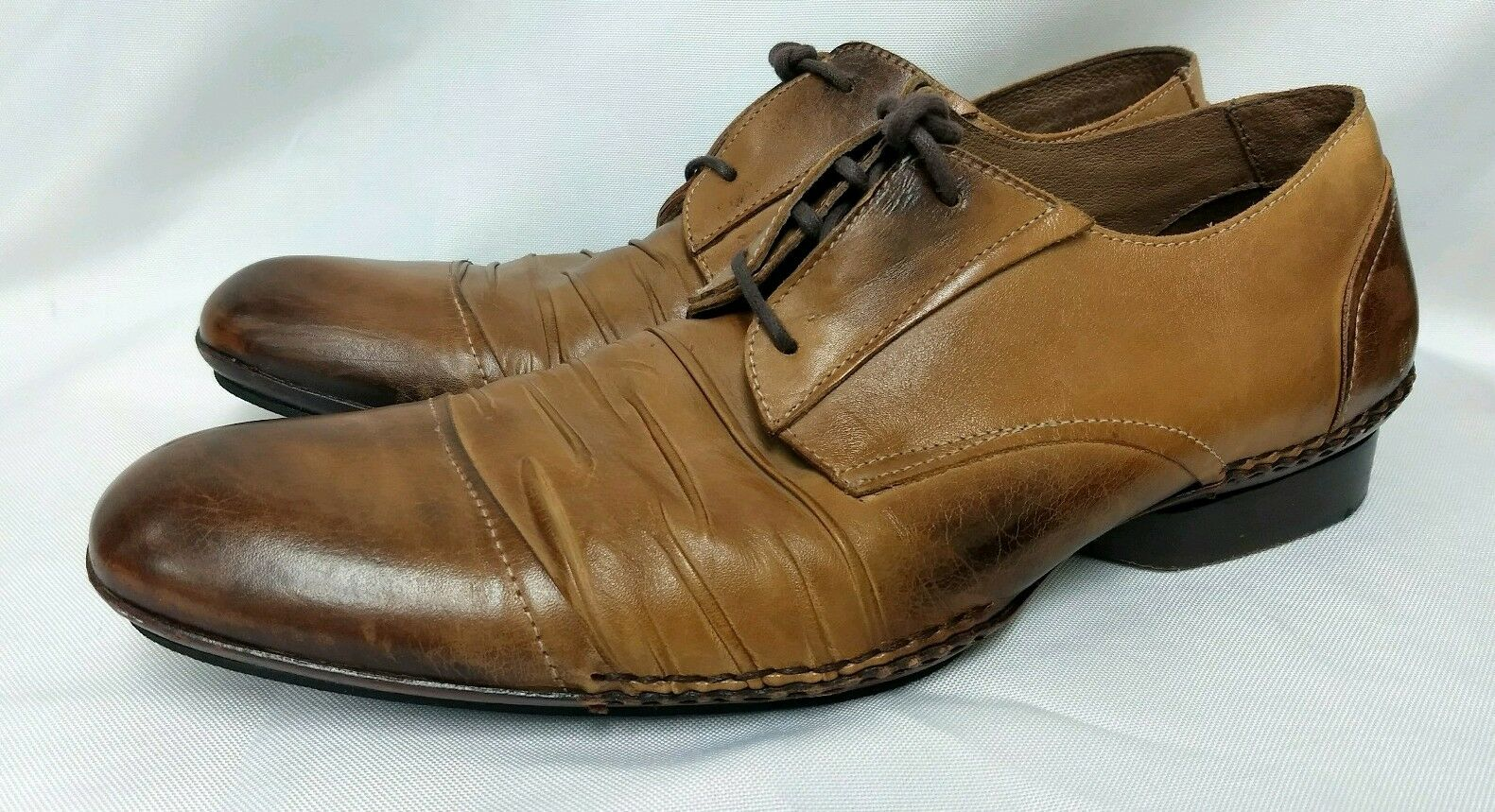 De La Rentis Size 10 M Brown Leather Cap Toe Lace Up Mens shoes Brazil