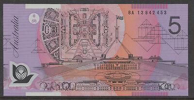 AUSTRALIA $5 Dollars FIRST PREFIX BA13 2013 Stevens//Parkinson P57h UNC Banknote