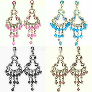 IN-STYLE-PINK-BLUE-BLACK-PURPLE-CRYSTAL-CHANDELIER-BUTTERFLY-SILVER-EARRINGS-NEW
