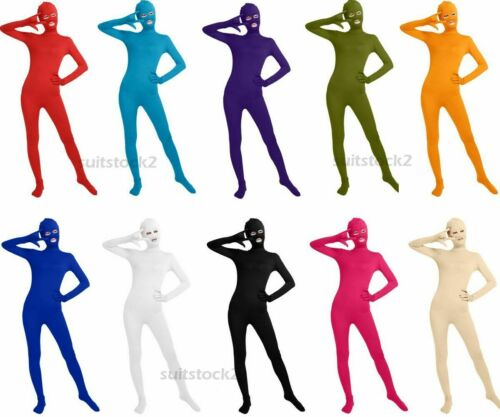 Adult Tight Lycra Spandex Skin Unisex Catsuit Zentai Open Eyes Mouth Costumes