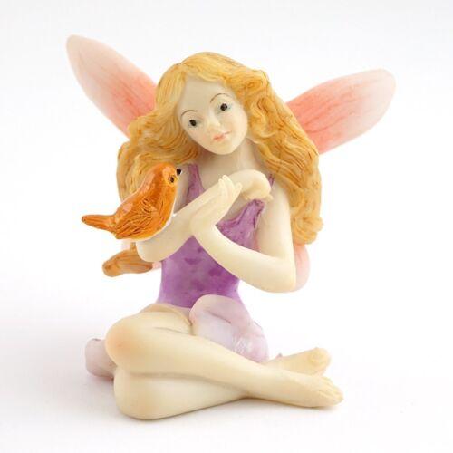 "2"" Fairy with Bird Statue Miniature Garden Terrarium Decor Dollhouse"