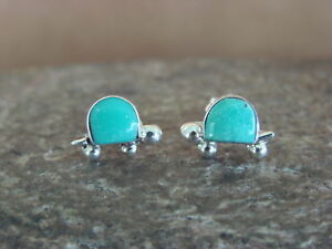 Zuni-Indian-Jewelry-Sterling-Silver-Turquoise-Turtle-Post-Earrings-by-Slow