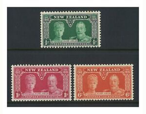 New Zealand 1935 KGV Silver Jubilee Set of 3 Stamps Mint MLH (6-2)