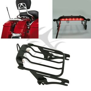 Detachable Air Wing Luggage Rack W Light For Harley Hd