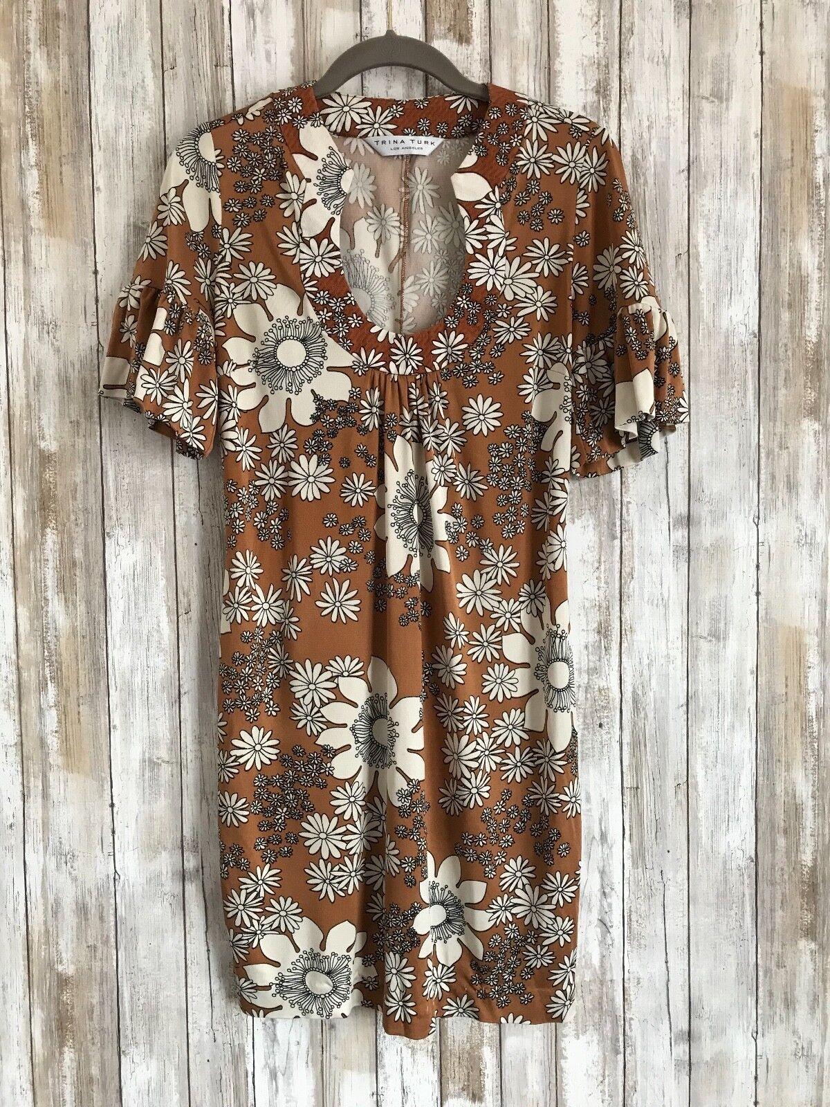 TRINA TURK Retro Hippie Boho Floral Beige Silk Shift Tunic Dress S Small RARE