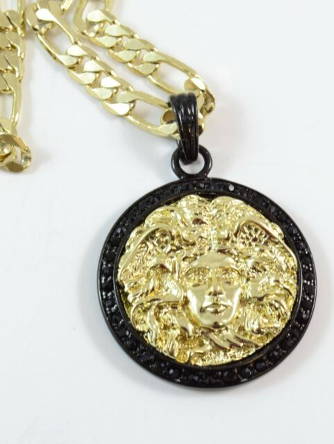 "Black Gold Color Small 35mm Men Medusa Head 24""Chain Charm #974"