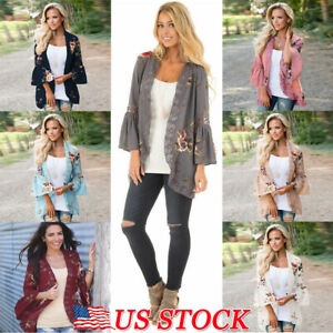 Women-039-s-Lady-Long-Sleeve-Lace-Floral-Kimono-Cardigan-Blouse-Jacket-Loose-Tops-US