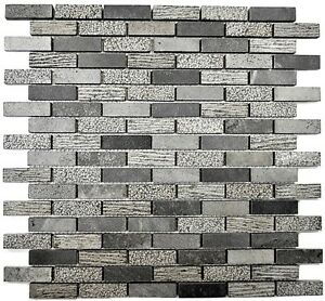 Mosaikfliese-Marmor-Brick-Stein-Carving-mix-cement-grey-Art-40-B49