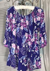 NEW-Plus-Size-1X-Purple-Floral-Boho-Shirt-Peasant-Top-Blouse