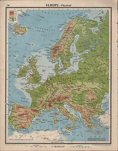 1939 MAP ~ EUROPE PHYSICAL LAND HEIGHTS BRITISH ISLES SPAIN ...
