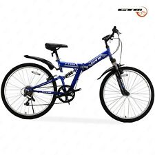 "Folding 26"" Mountain Bike 7 Speed Bicycle Shimano Hybrid Suspension Sports Blue"