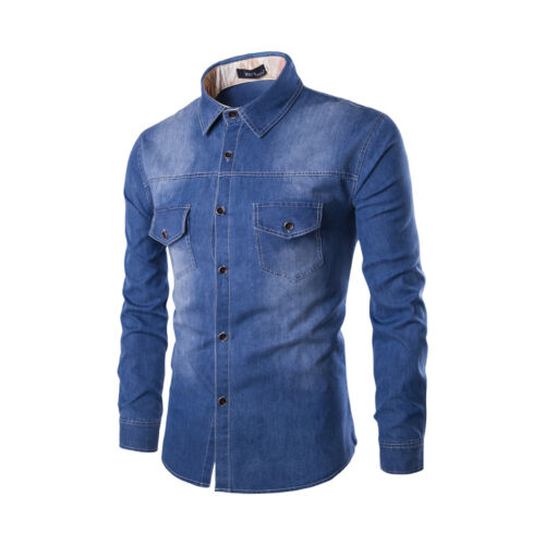 New Style Mens Casual Long Sleeves Denim Washed Slim Fit Cotton Shirts EK6449