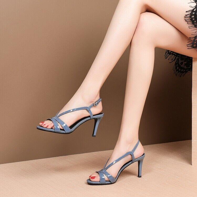 Chaussures femme 2019 Lady Summer New Fashion Sexy Bout Ouvert Talons Aiguilles Sandales en cuir véritable