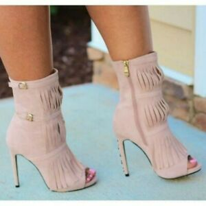 Womens-Side-Zip-Ankle-Boots-High-Heel-Suede-Fabric-Peep-Toe-Party-Tassels-Shoes
