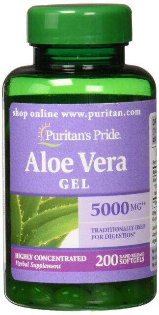 Puritans Pride Aloe Vera Extract 5000 Mg Softgels, 200 Count