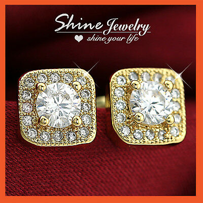 9K GOLD GF SQUARE SIMULATED DIAMOND SOLID MENS WOMENS HOOP SLEEPER EARRINGS GIFT