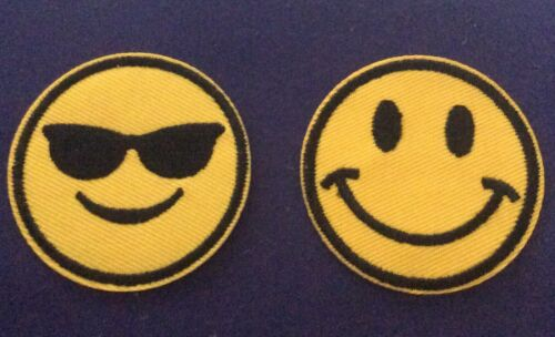 Two X 2 Inch   SMILEY FACE   and COOL EMOTICONS IRON ON  PATCHES.
