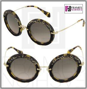 19885903cadf MIU MIU NOIR Crystal 08R Brown Havana Black Suede Mirrored ...