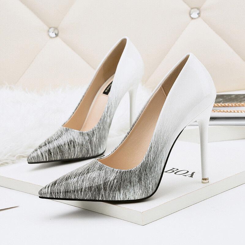 decolte stiletto 11 cm eleganti bianco grigio  lucido eleganti  simil pelle 9900